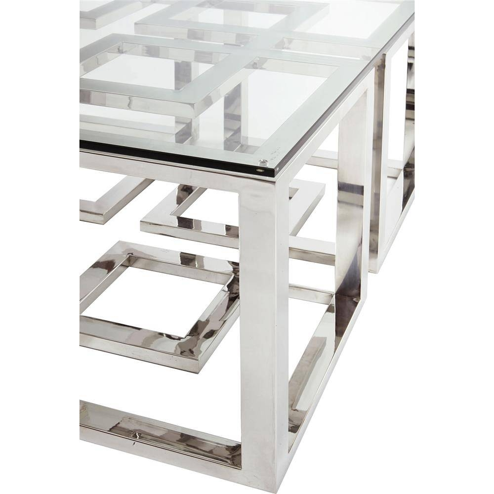 Mercer Stainless Steel Silver Square Glass Coffee Table Kathy For Glass And Silver Coffee Tables (View 16 of 30)