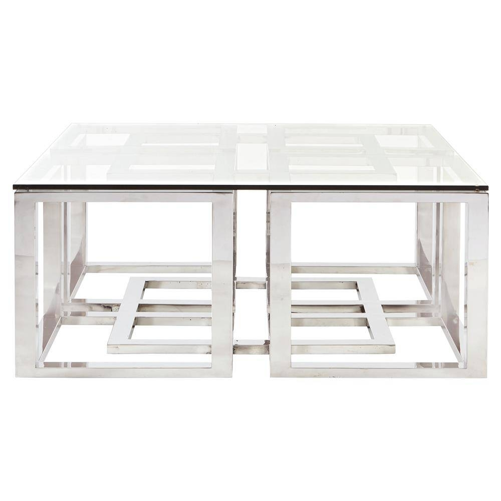 Mercer Stainless Steel Silver Square Glass Coffee Table | Kathy In Steel And Glass Coffee Tables (View 16 of 30)