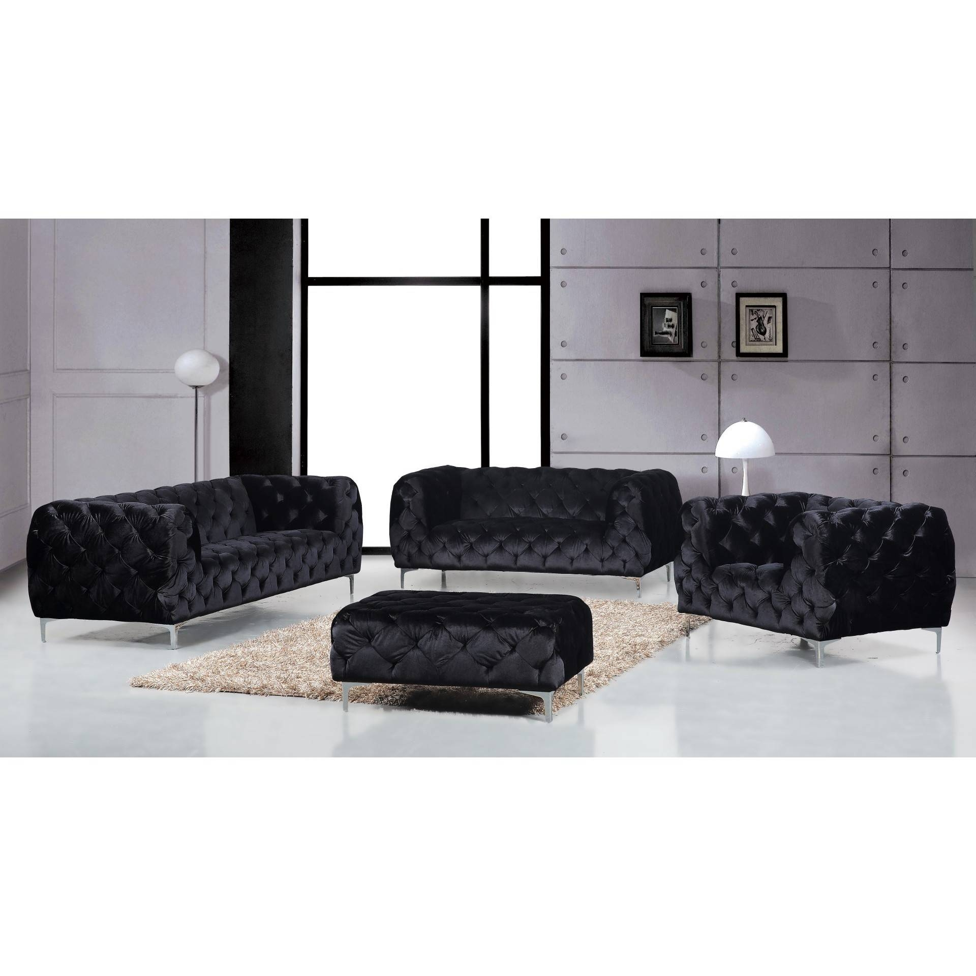 Mercer Velvet Sofa (Multiple Colors)Meridian Furniture pertaining to Black Velvet Sofas (Image 14 of 30)