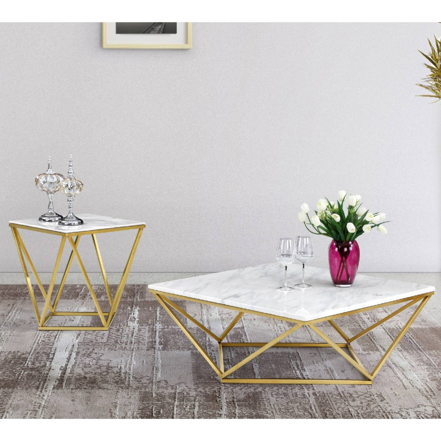 Meridian Furniture 216-C Mason Gold Geometric Coffee Table W pertaining to C Coffee Tables (Image 19 of 30)