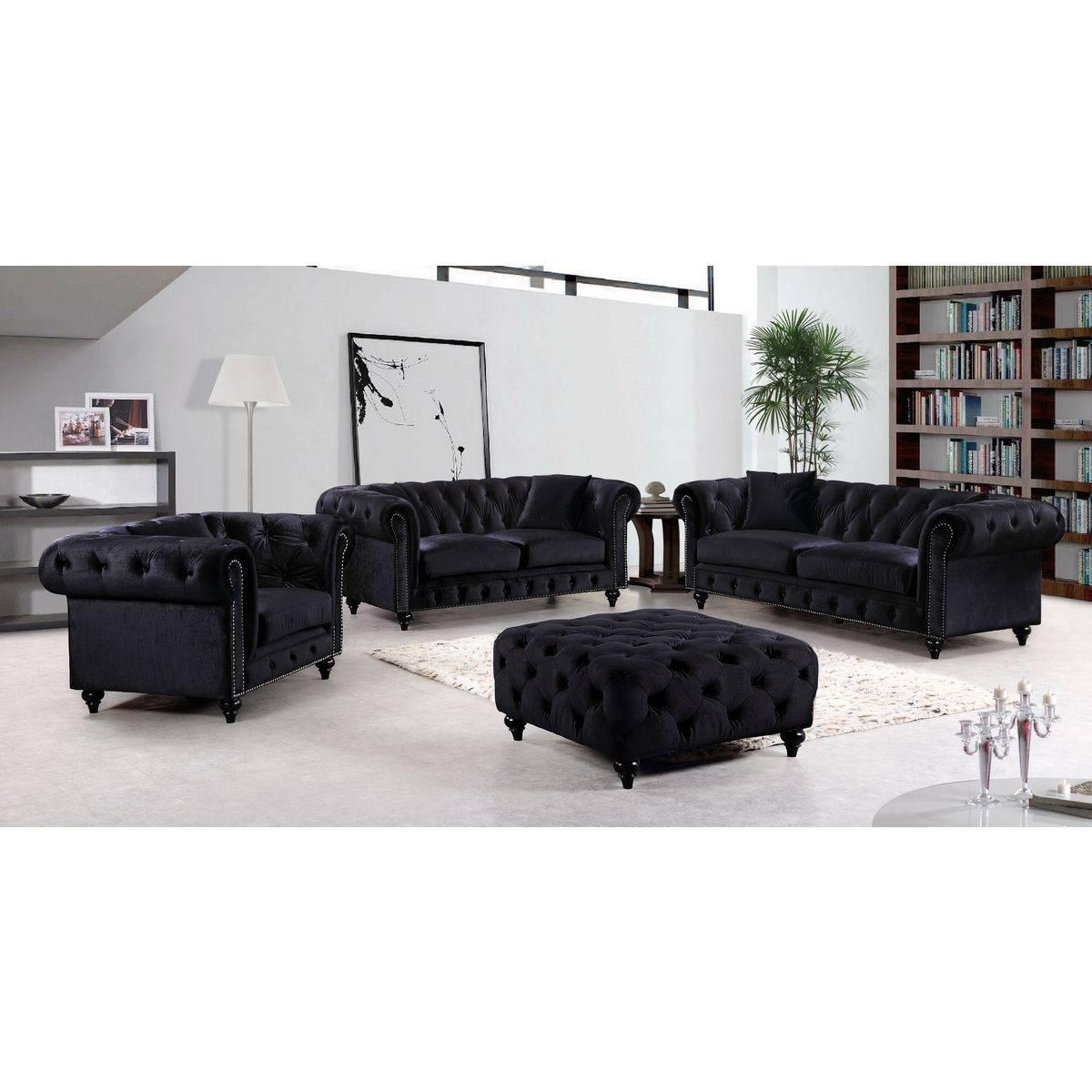 Meridian Furniture 662Bl-S Chesterfield Tufted Black Velvet Sofa W in Black Velvet Sofas (Image 15 of 30)