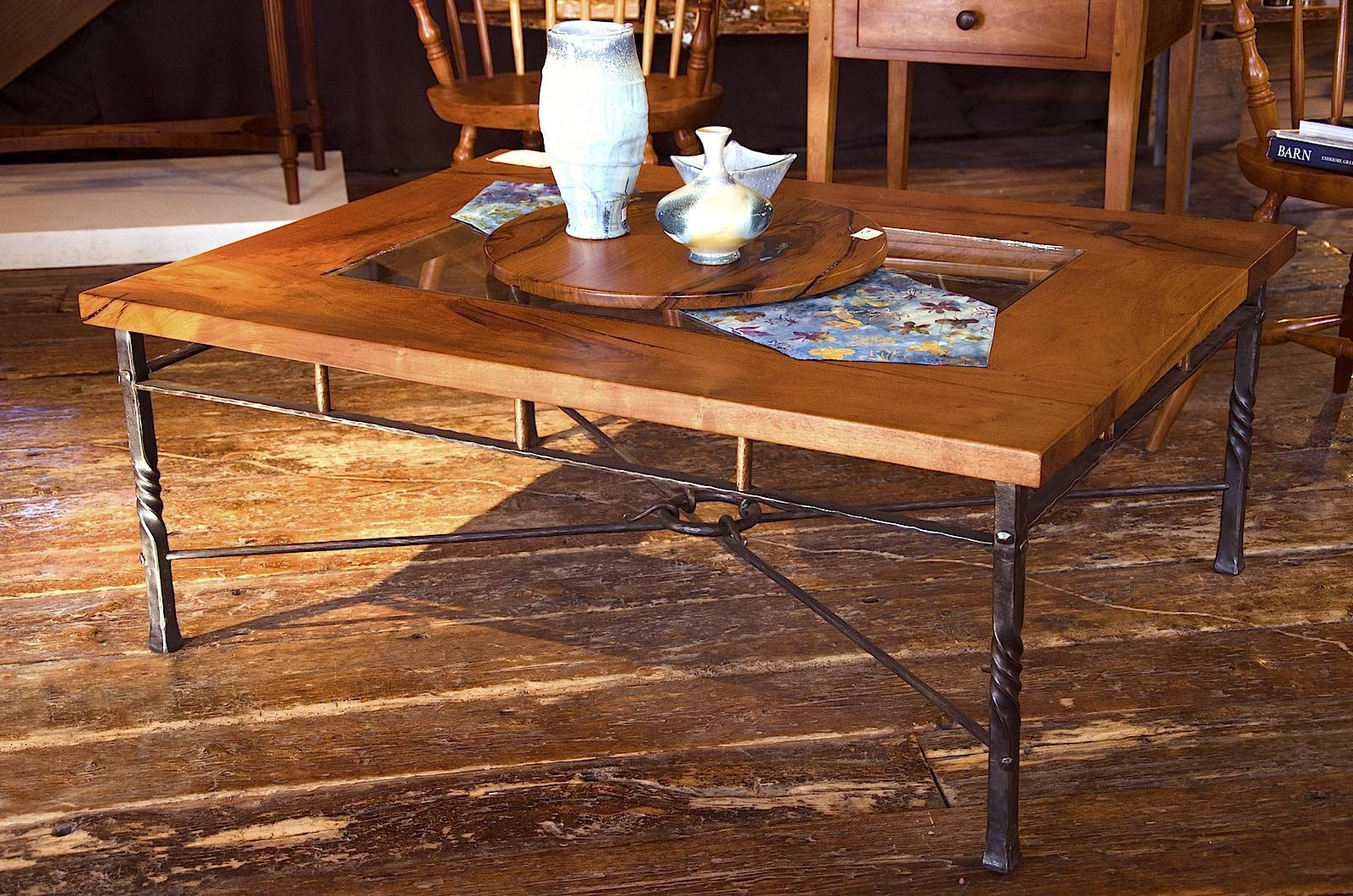 Mesquite And Wrought Iron Coffee Table, Mesquite Coffee Table With inside Wrought Iron Coffee Tables (Image 10 of 30)
