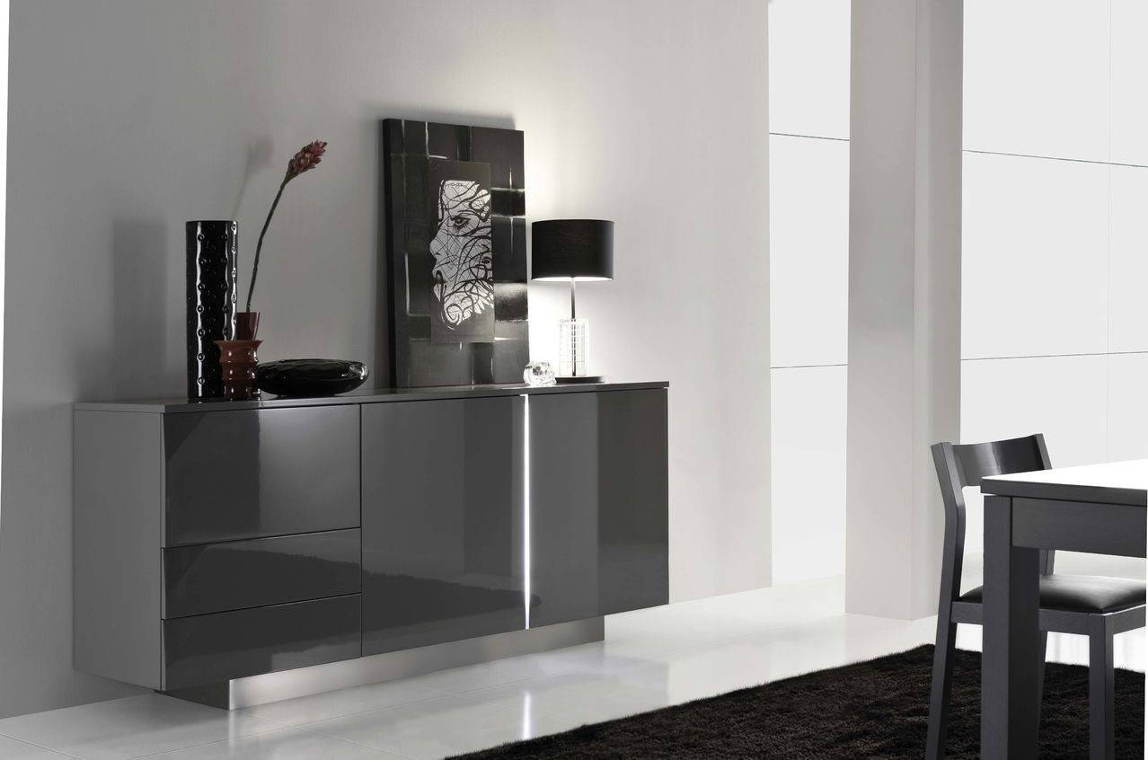 Metri Ii -Luxury High Gloss Sideboard - Sideboards - Sena Home regarding Black Gloss Sideboards (Image 20 of 30)