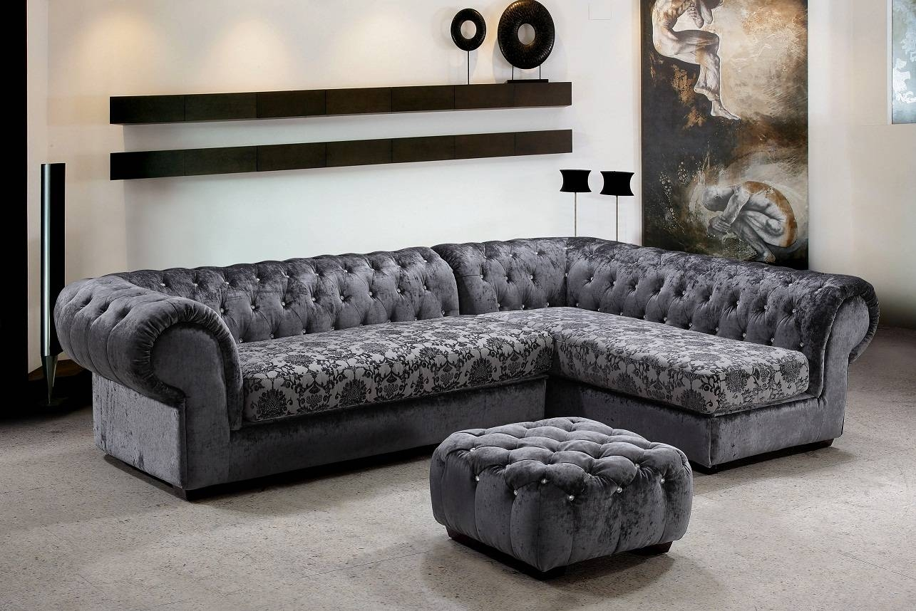 Metropolitan 3 Piece Fabric Sectional Sofa & Ottoman With Crystals intended for Elegant Sectional Sofa (Image 22 of 25)