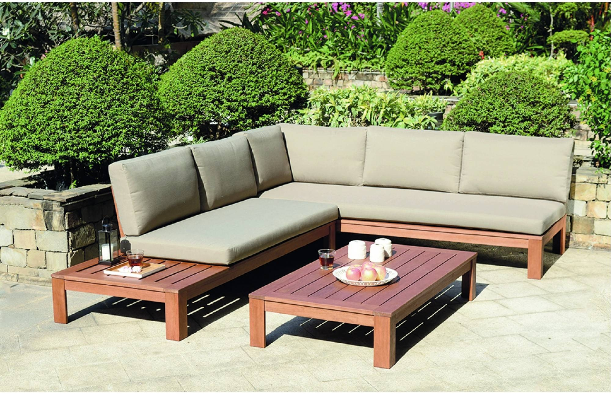 Miami Wooden Garden Lounge Set With Cushions Out And Out Original With Wooden Garden Coffee Tables (Image 19 of 30)