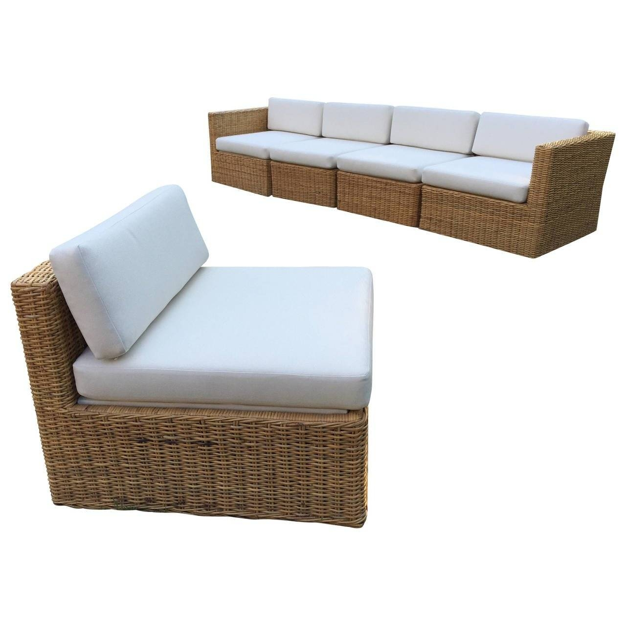 Michael Taylor Wicker/rattan Five-Piece Sectional Sofa And Chairs for Armless Sectional Sofa (Image 16 of 30)