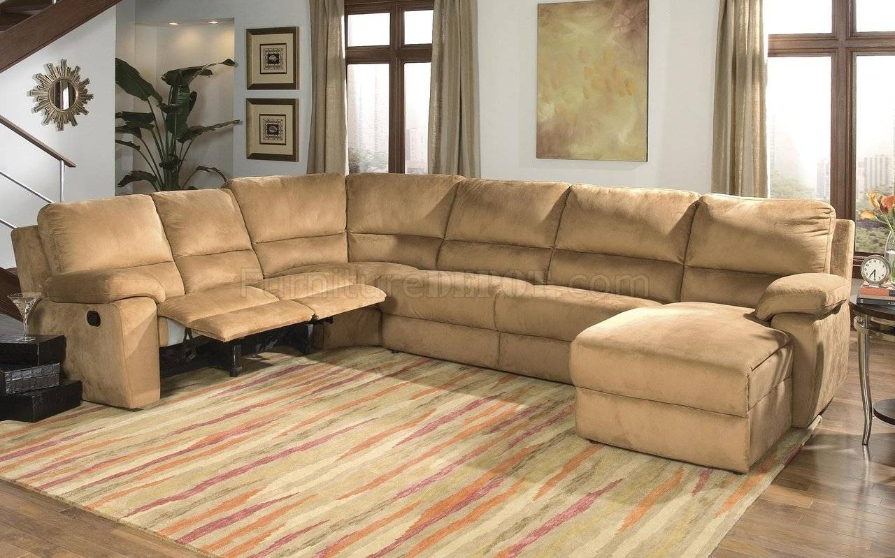 Micro Suede Contemporary Reclining Sectional Sofa pertaining to Microsuede Sectional Sofas (Image 14 of 30)