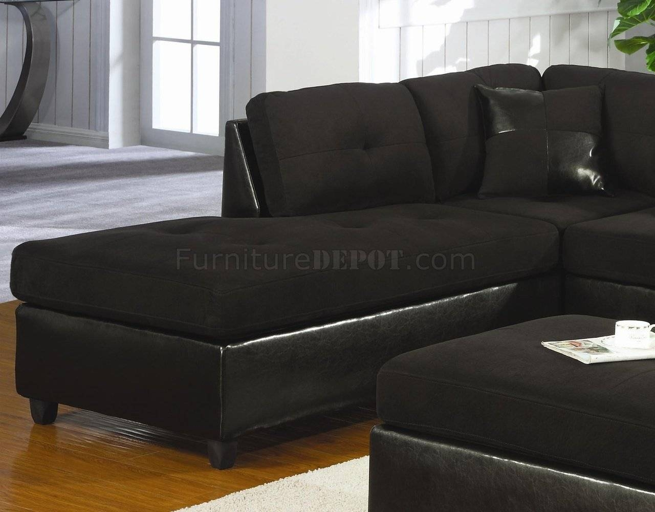 Microfiber & Faux Leather Contemporary Sectional Sofa 500735 Black pertaining to Microsuede Sectional Sofas (Image 15 of 30)