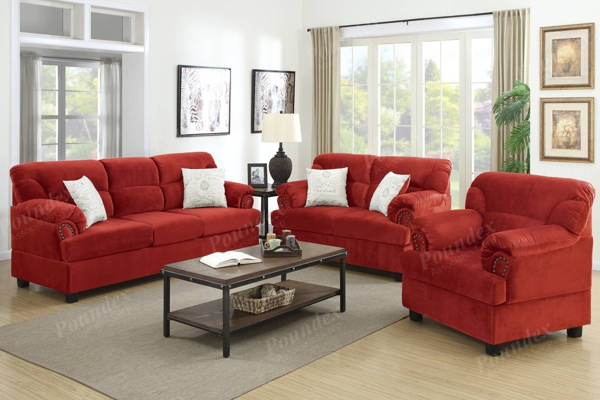 Microfiber Living Room Furniture 3 Pc Sofa Set Sofa Loveseat pertaining to Sofa Loveseat and Chairs (Image 18 of 30)