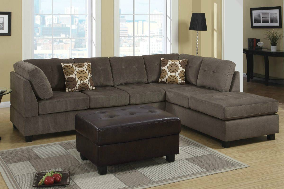 Microfiber Sectional Sofa With Ottoman | Tehranmix Decoration inside Leather And Suede Sectional Sofa (Image 22 of 25)