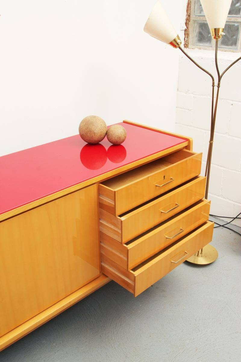 Mid Century Ash Sideboard With Red Glass Top, 1950S For Sale At Pamono regarding Glass Top Sideboards (Image 8 of 30)