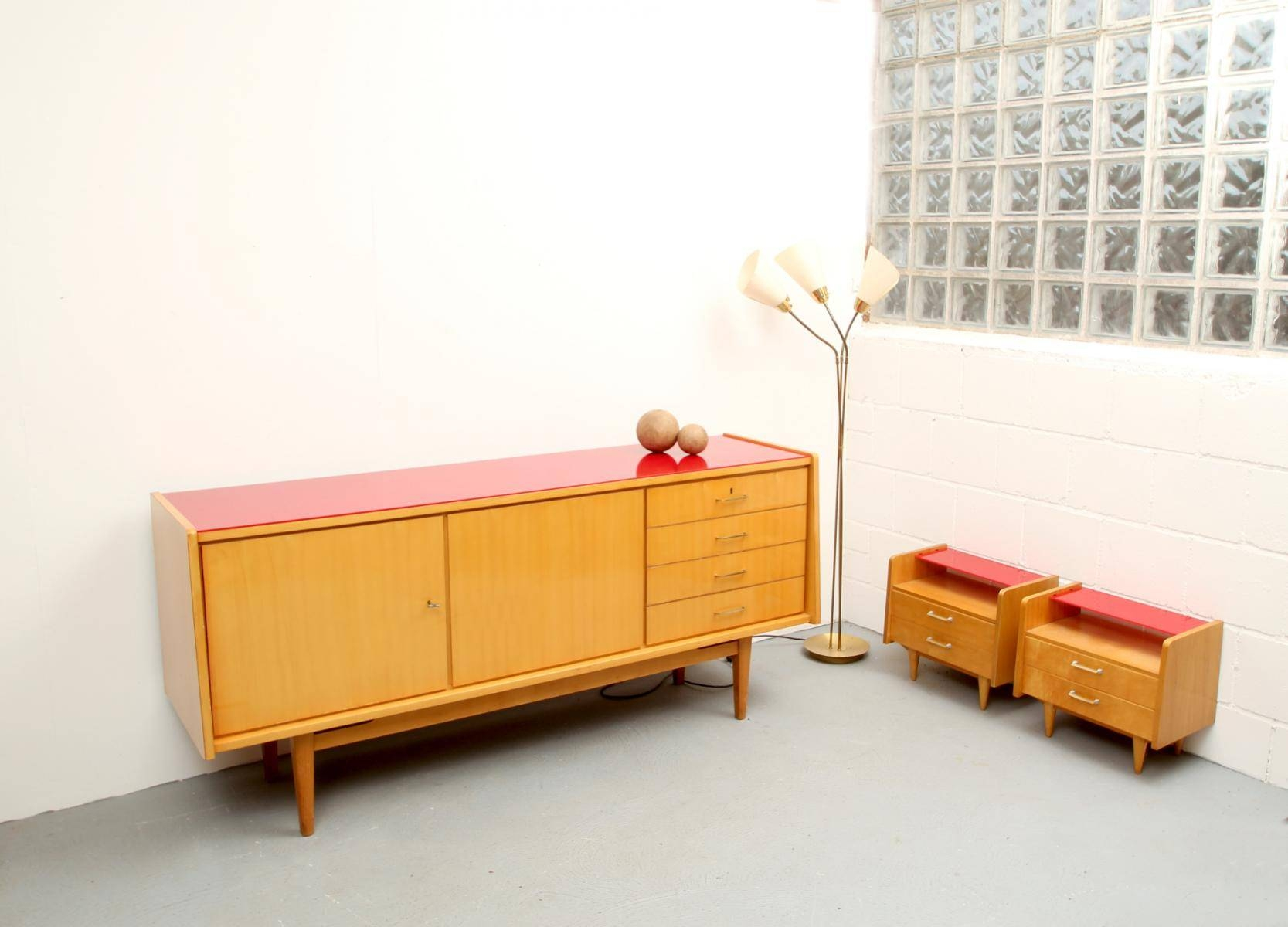 Mid Century Ash Sideboard With Red Glass Top, 1950S For Sale At Pamono throughout Glass Top Sideboards (Image 9 of 30)