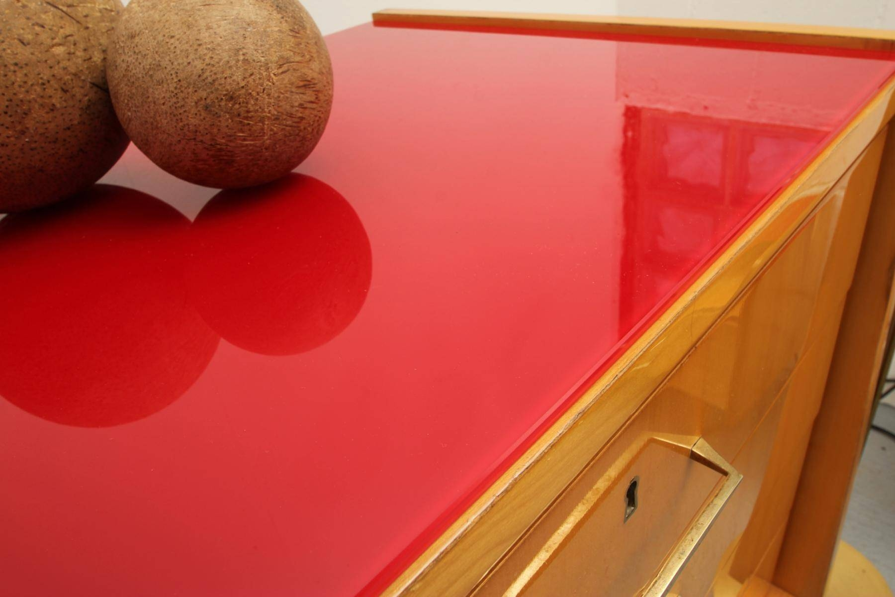 Mid Century Ash Sideboard With Red Glass Top, 1950S For Sale At Pamono within Glass Top Sideboards (Image 11 of 30)