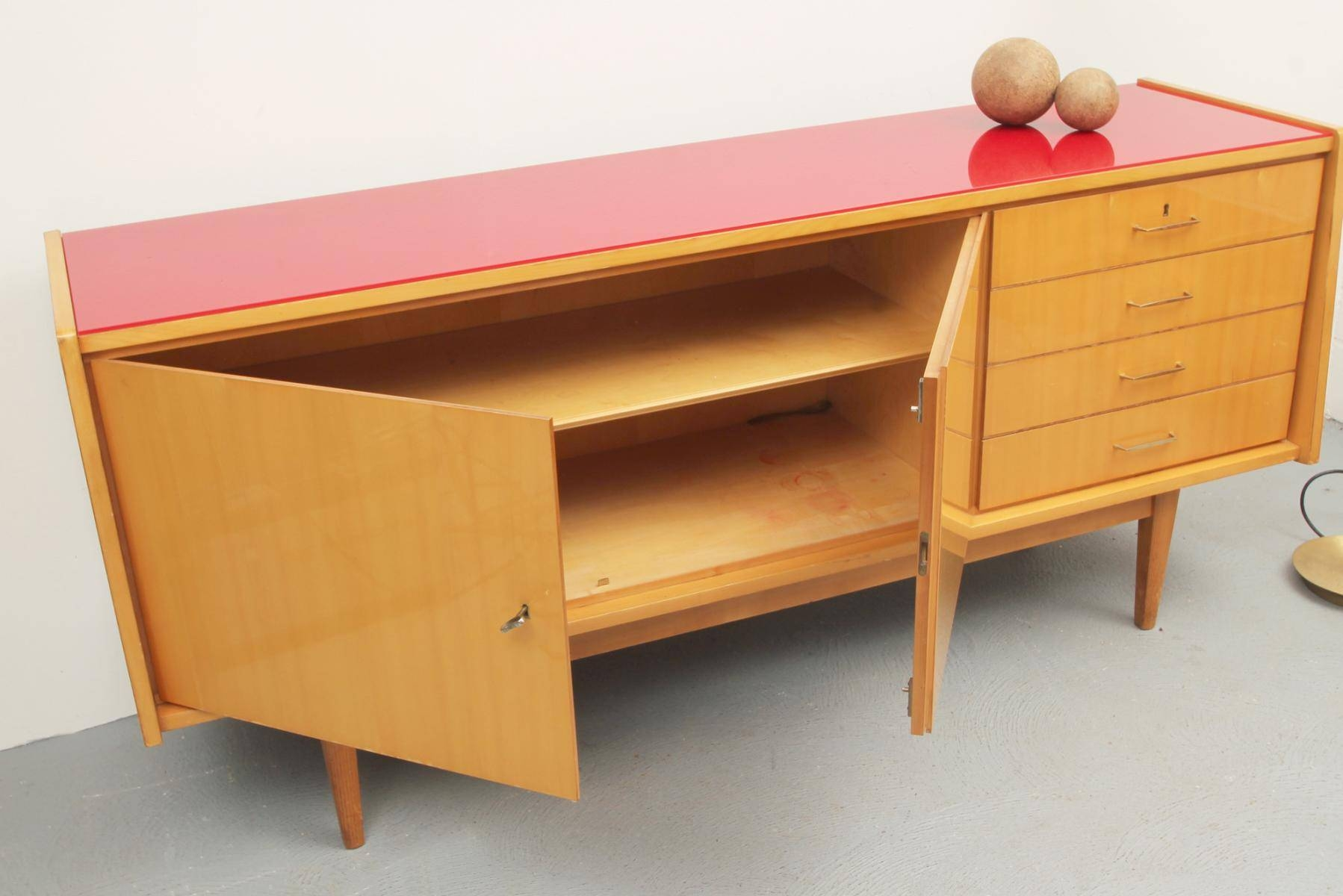Mid Century Ash Sideboard With Red Glass Top, 1950S For Sale At Pamono within Glass Top Sideboards (Image 10 of 30)