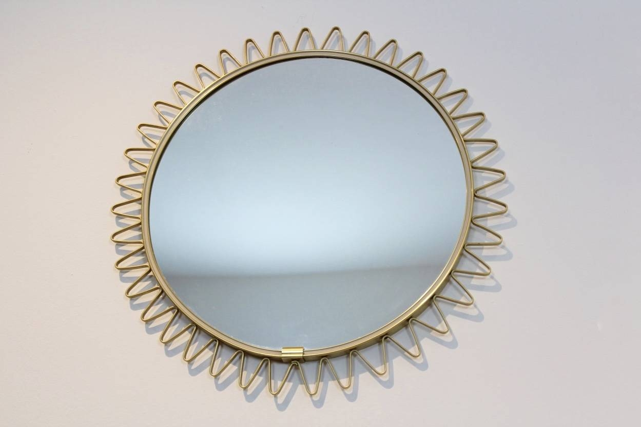 Mid-Century Brass Framed Sunburst Mirror For Sale At Pamono in Extra Large Sunburst Mirrors (Image 21 of 25)