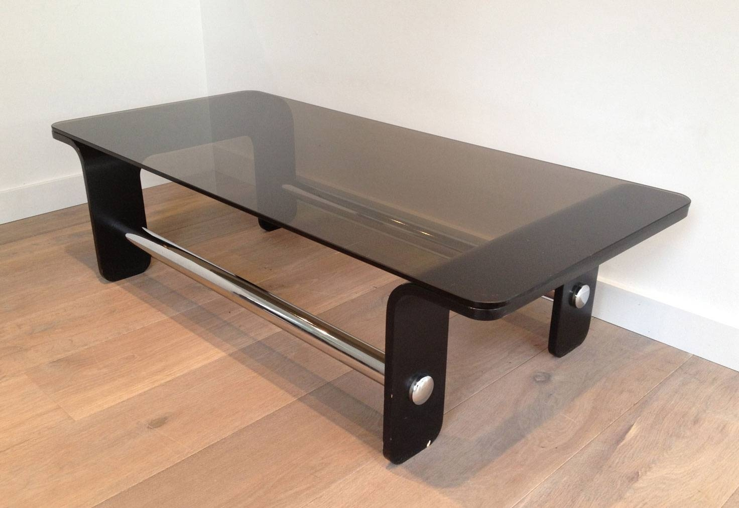 Mid Century Coffee Table In Black Wood, Chrome And Smoked Glass inside Chrome and Wood Coffee Tables (Image 19 of 30)