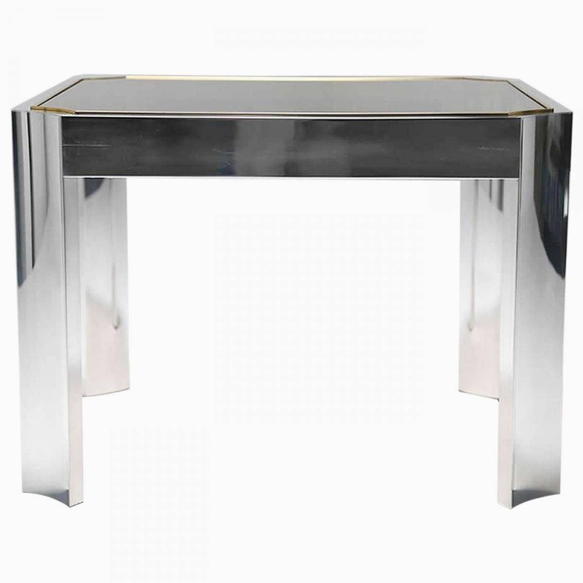 Mid-Century Coffee Table With Aluminium Base And Brass Trim For pertaining to Aluminium Coffee Tables (Image 17 of 30)