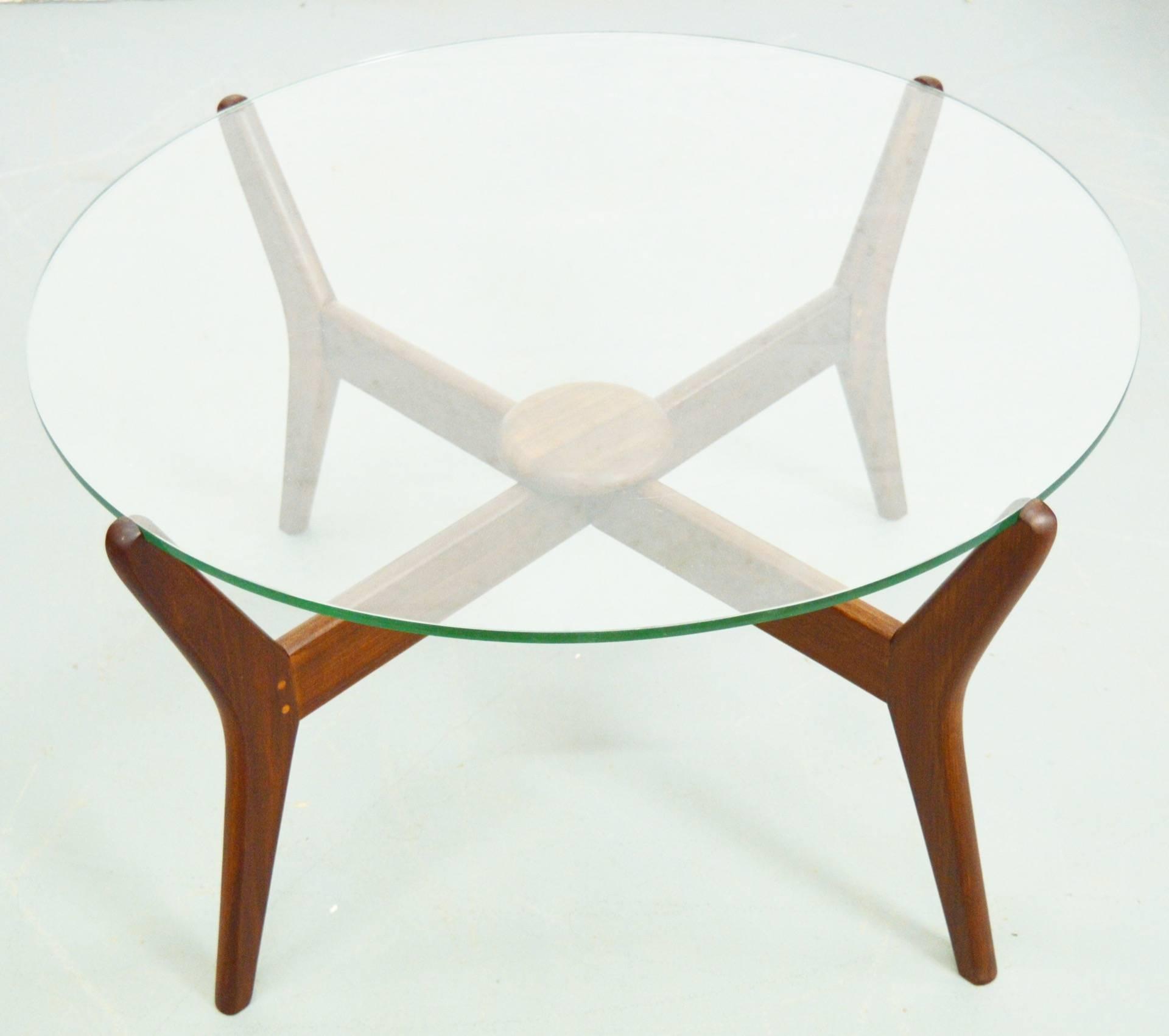 Mid Century Danish Teak Glass Top Coffee Table | Vinterior With Regard To Retro Teak Glass Coffee Tables (View 10 of 30)