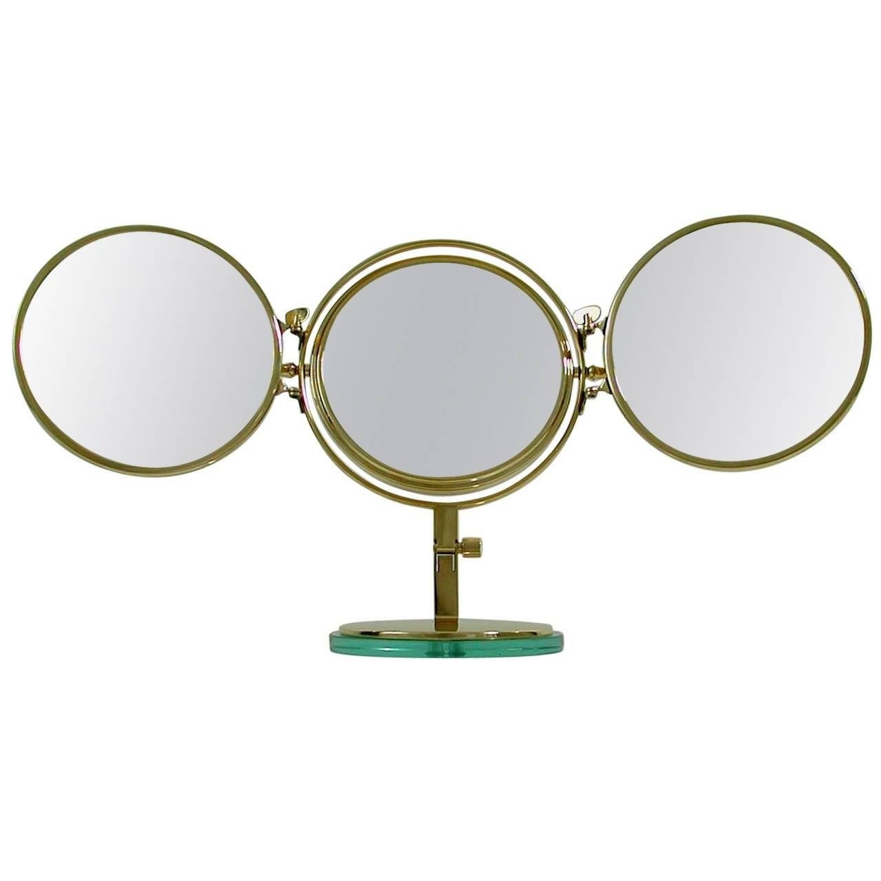 Mid Century Italian, Triple Brass Folding Vanity Table Mirror At regarding Triple Oval Mirrors (Image 12 of 25)