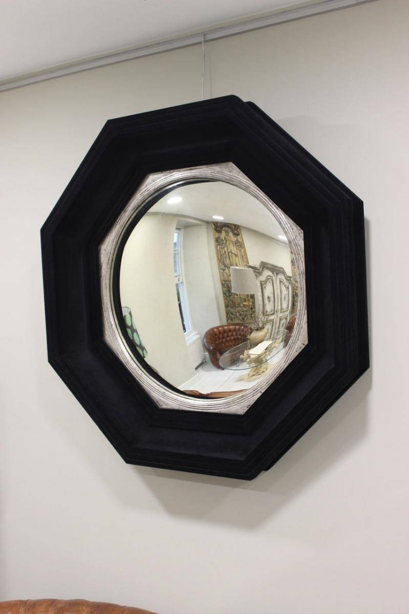 Mid-Century Large Octagonal Flocked Black Convex Mirror For Sale regarding Black Convex Mirrors (Image 11 of 25)