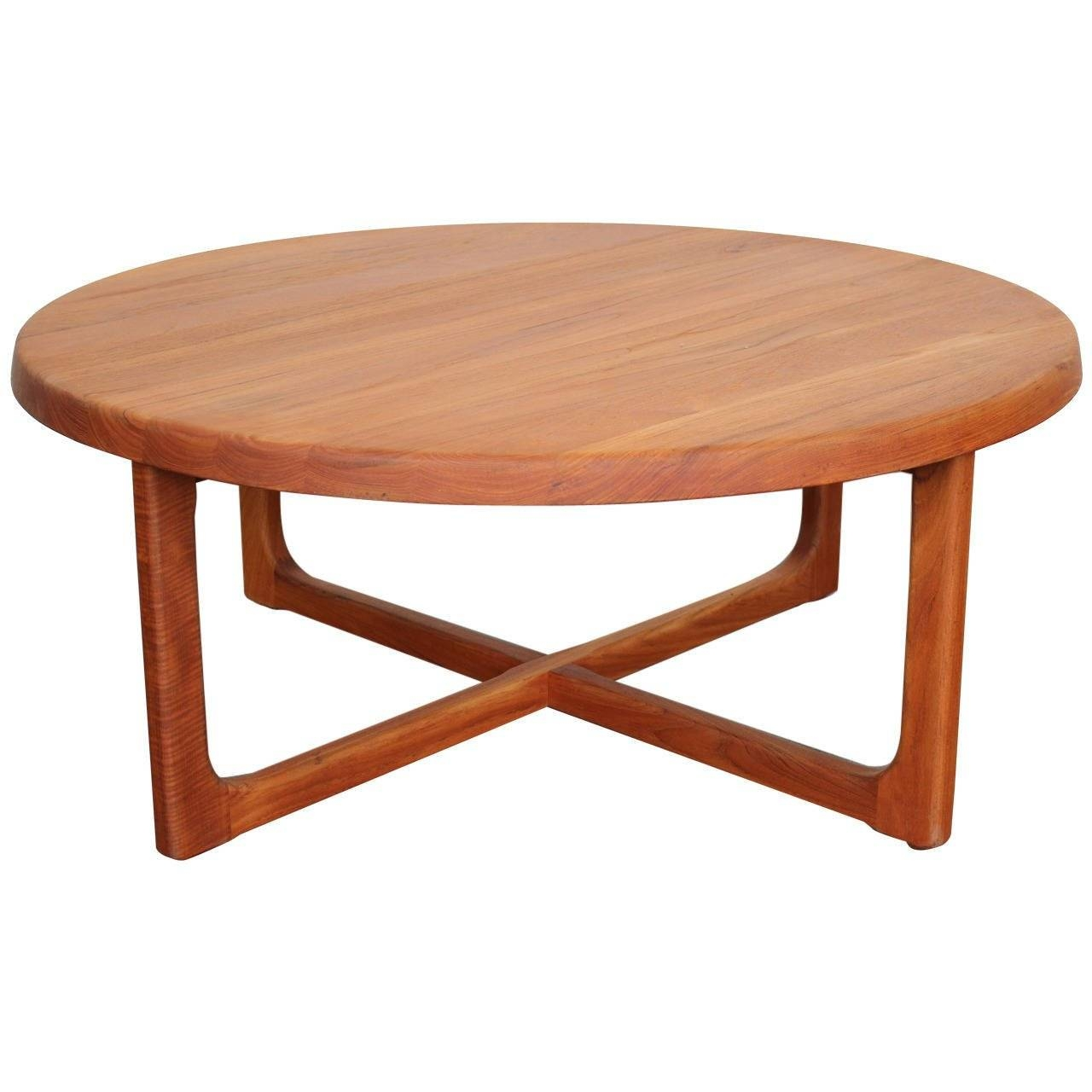 Mid Century Large Round Solid Teak Coffee Table At 1Stdibs Within Solid Round Coffee Tables (View 20 of 30)