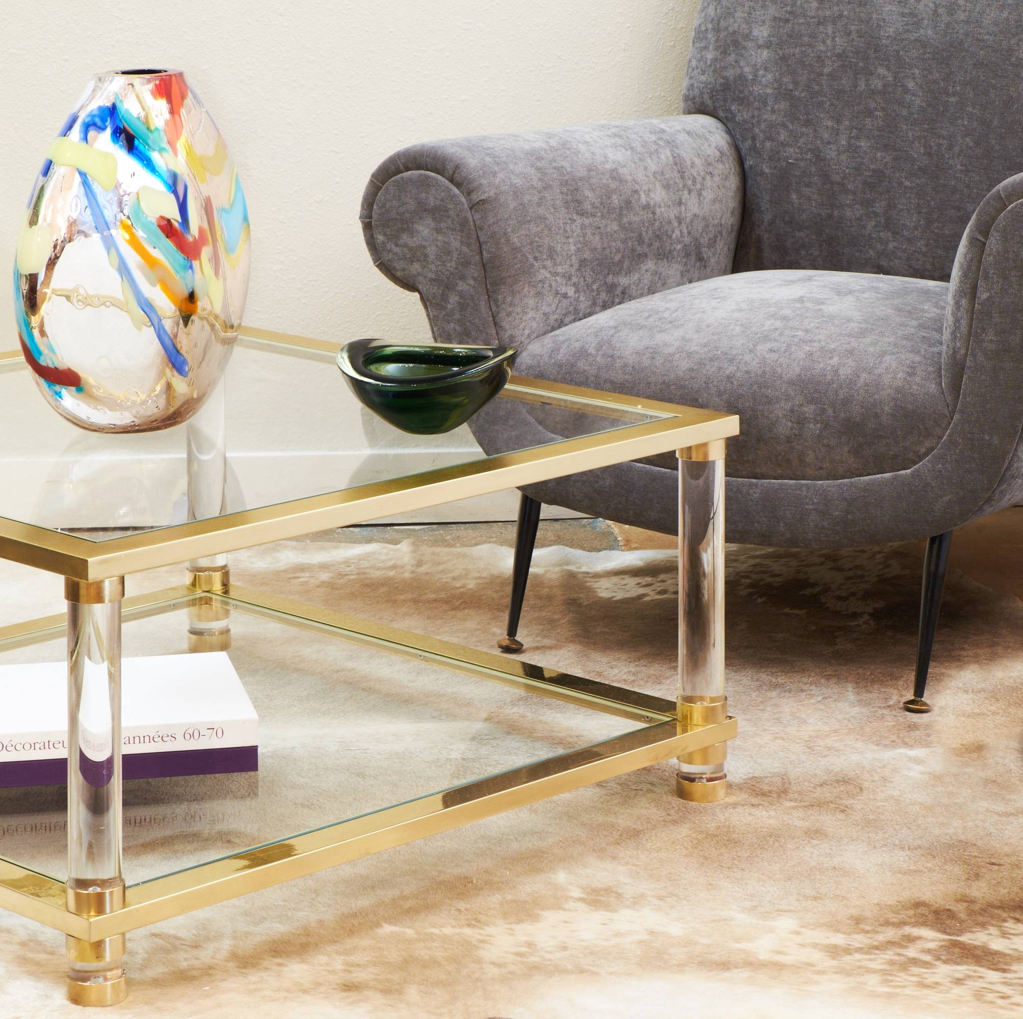 Mid-Century Lucite, Brass, Glass Coffee Table - Jean Marc Fray intended for Antique Brass Glass Coffee Tables (Image 30 of 37)