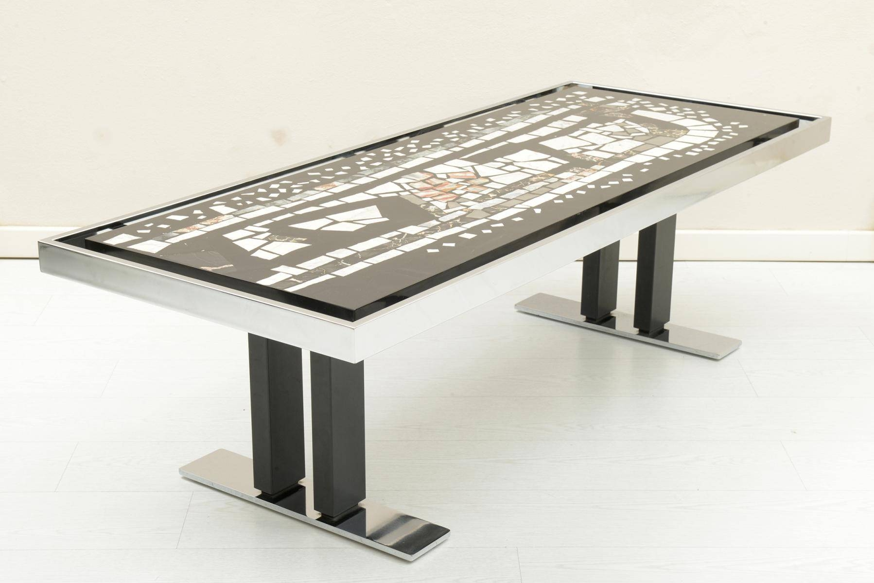 Mid-Century Marble Mosaic And Chromed Metal Coffee Table, 1960S in Marble and Metal Coffee Tables (Image 22 of 30)
