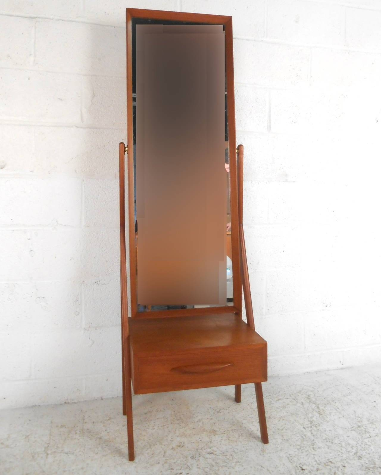 Mid Century Modern Arne Vodder Teak Cheval Dressing Mirror For For Modern Cheval Mirrors (View 9 of 25)