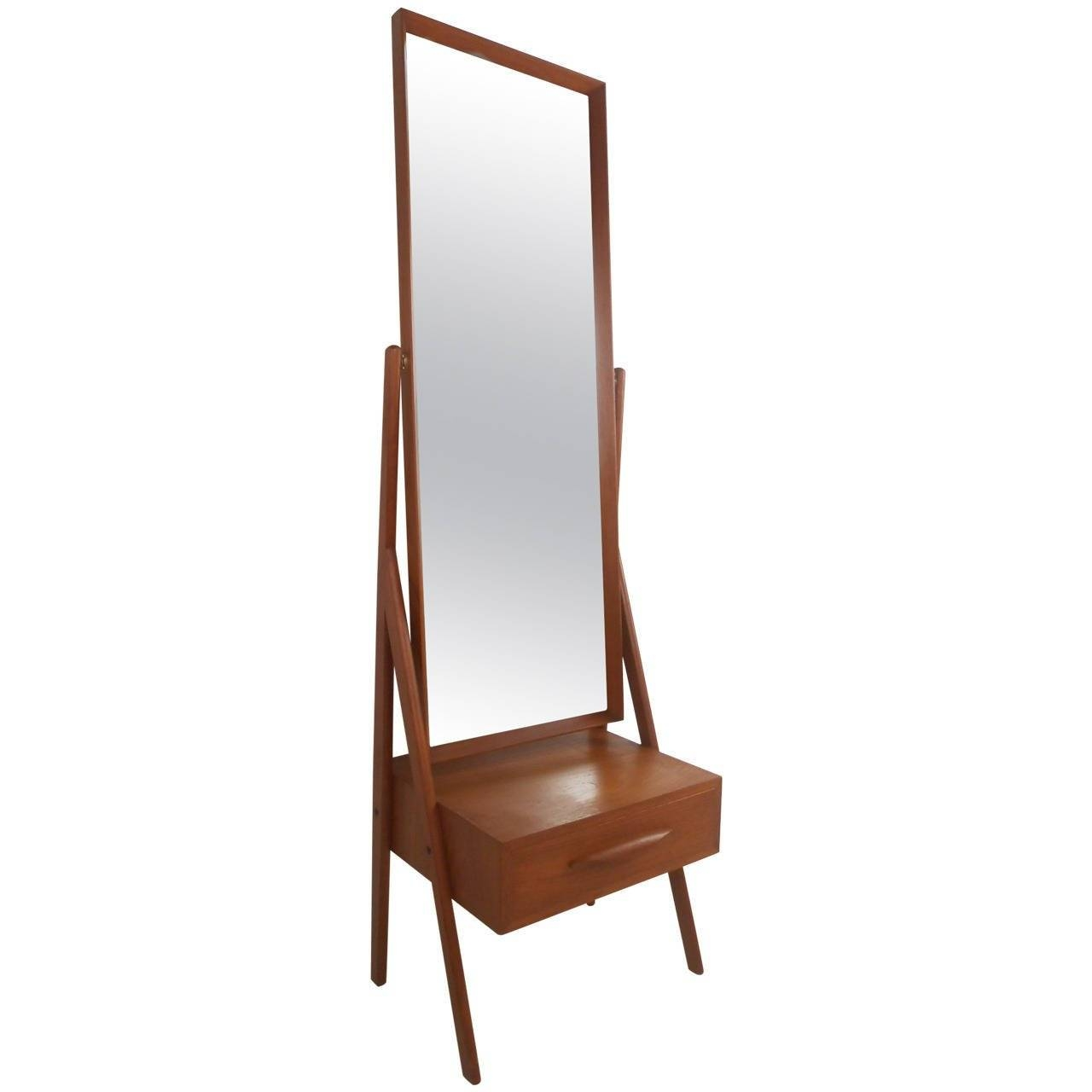 Mid Century Modern Arne Vodder Teak Cheval Dressing Mirror For Regarding Modern Cheval Mirrors (View 14 of 25)