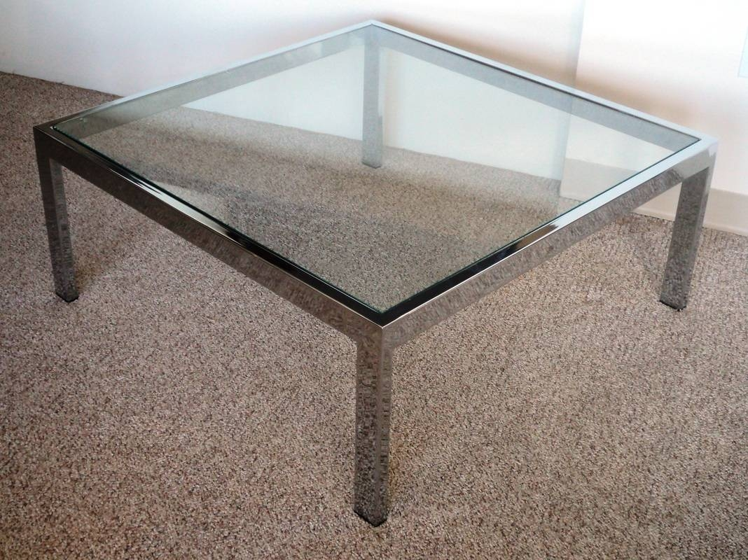 Mid Century Modern Chrome & Glass Coffee Table - Julesmoderne regarding Glass Chrome Coffee Tables (Image 24 of 30)