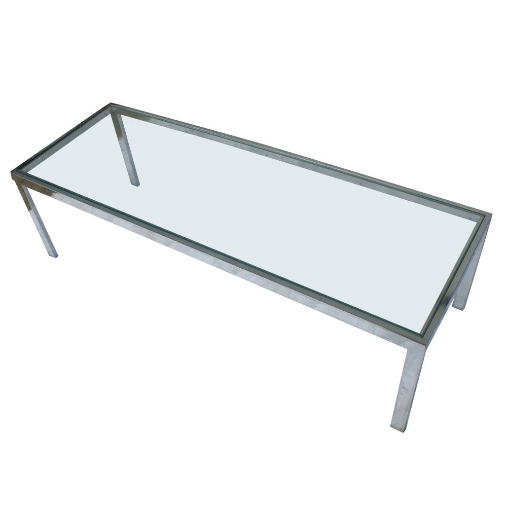 Mid Century Modern Glass And Chrome Coffee Table | Coffee Tables with Vintage Glass Coffee Tables (Image 10 of 30)