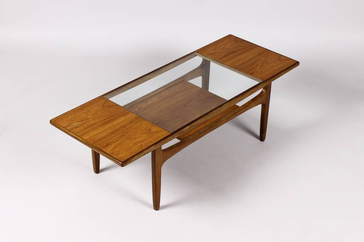 Mid Century Modern Glass Top Coffee Table | Coffee Tables Decoration In Retro Teak Glass Coffee Tables (View 3 of 30)