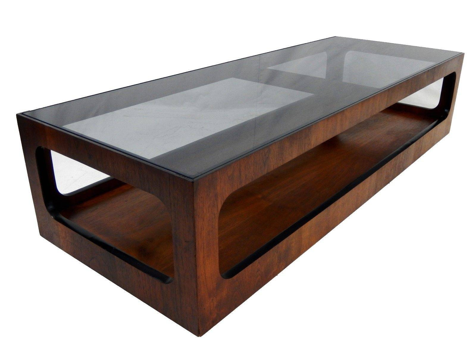 Mid Century Modern Lane Walnut And Smoked Glass Coffee Table Regarding  Retro Smoked Glass Coffee Tables