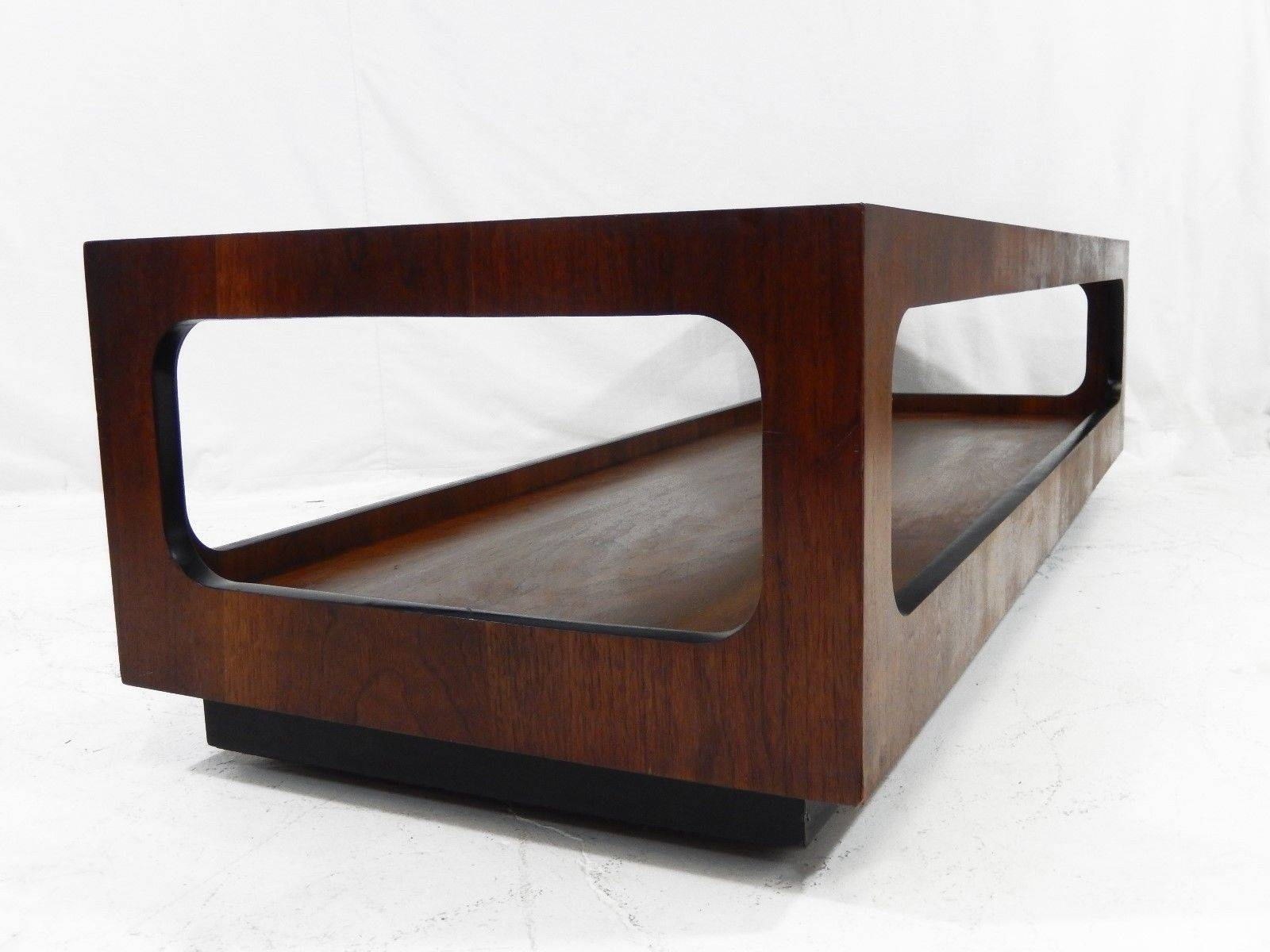 Mid Century Modern Lane Walnut And Smoked Glass Coffee Table With Regard To Retro Smoked Glass Coffee Tables (View 4 of 30)