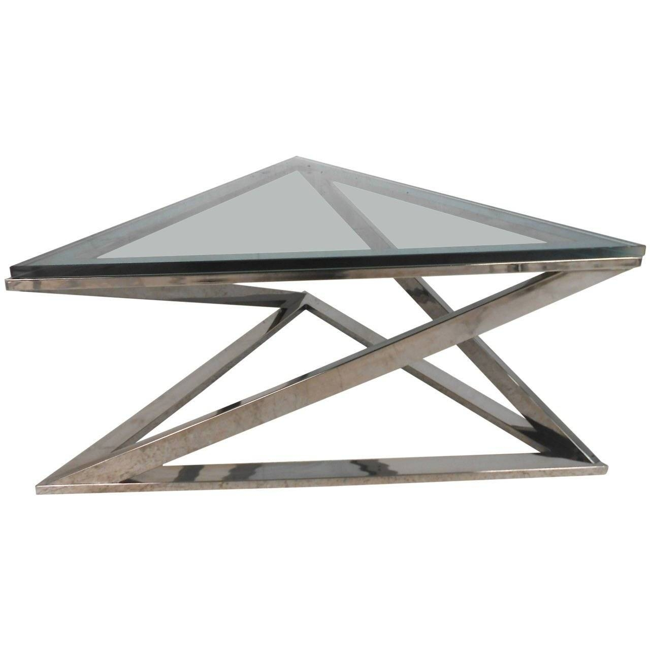 Mid Century Modern Milo Baughman Style Triangular Chrome Coffee Inside Chrome Coffee Tables (View 19 of 30)