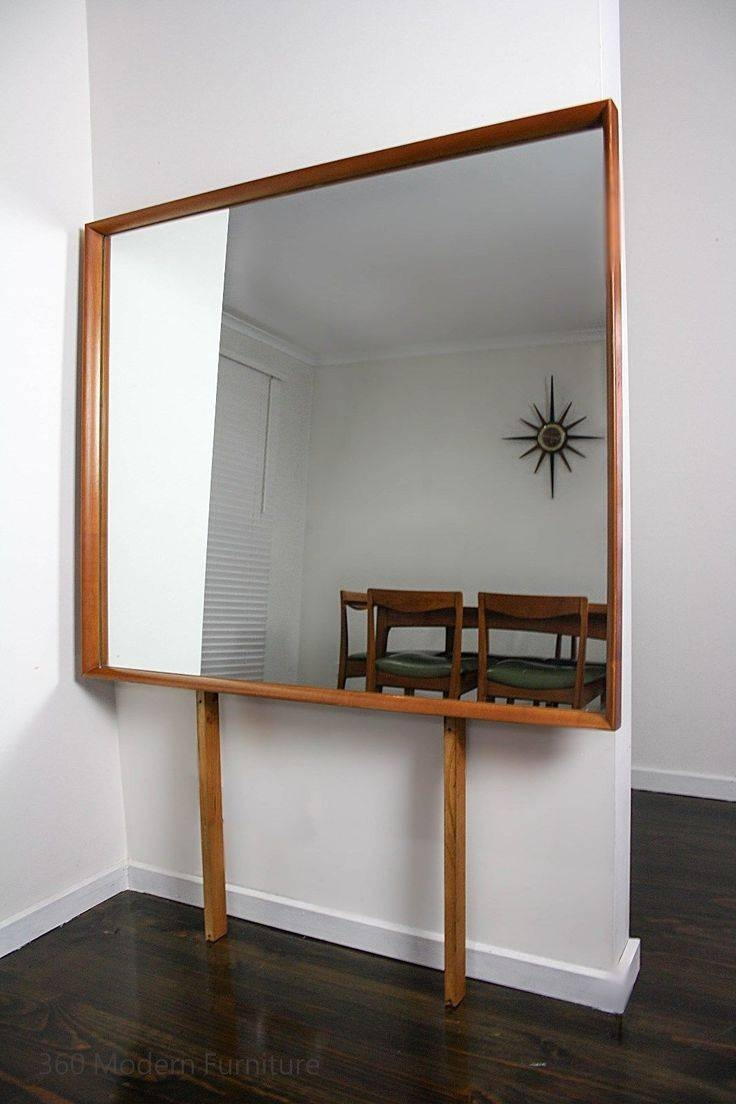 Mid Century Modern Mirror Large Retro Teak Vintage Wall Danish pertaining to Large Vintage Mirrors (Image 17 of 25)