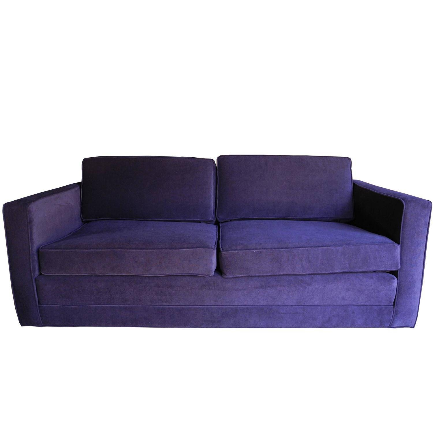 Mid-Century Modern Purple Velvet Sofa / Setteecharles Pfister with regard to Velvet Purple Sofas (Image 15 of 30)