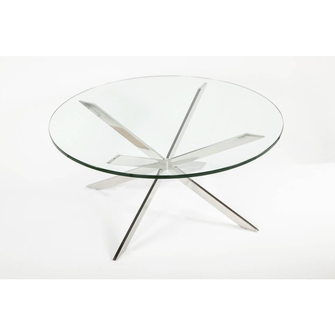 Mid-Century Modern Reproduction Chrome Star X Base inside Chrome Coffee Table Bases (Image 22 of 30)