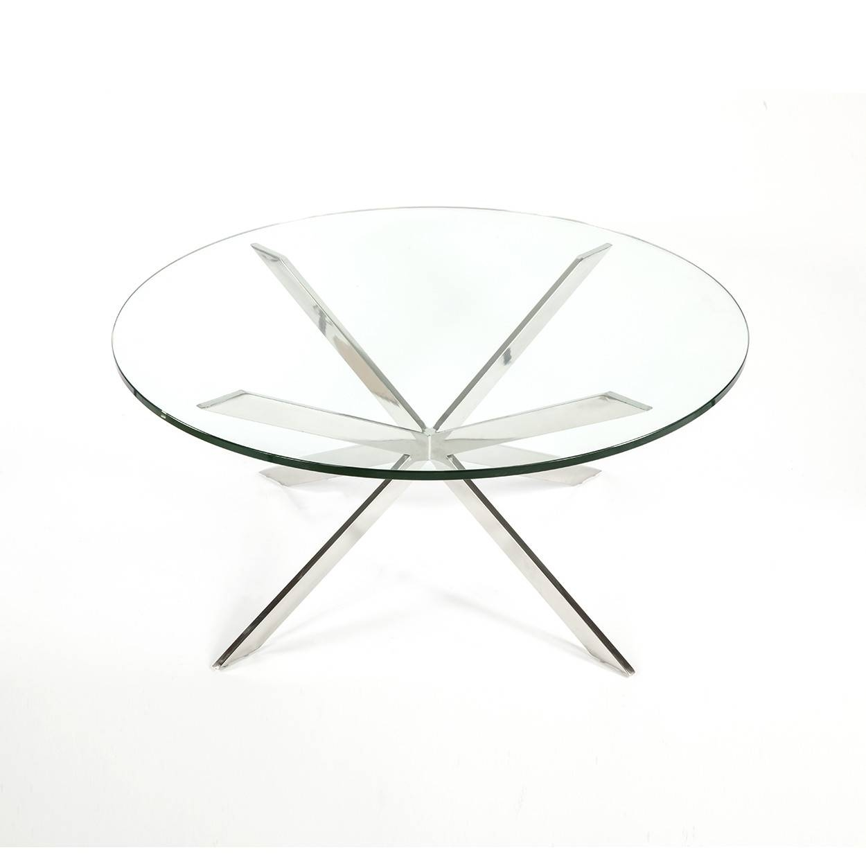 Mid-Century Modern Reproduction Chrome Star X Base intended for Chrome Coffee Table Bases (Image 23 of 30)
