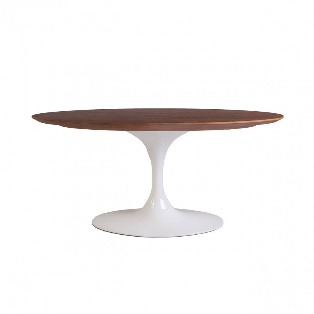 Mid-Century Modern Reproduction Walnut Tulip Coffee intended for Oval Walnut Coffee Tables (Image 19 of 30)