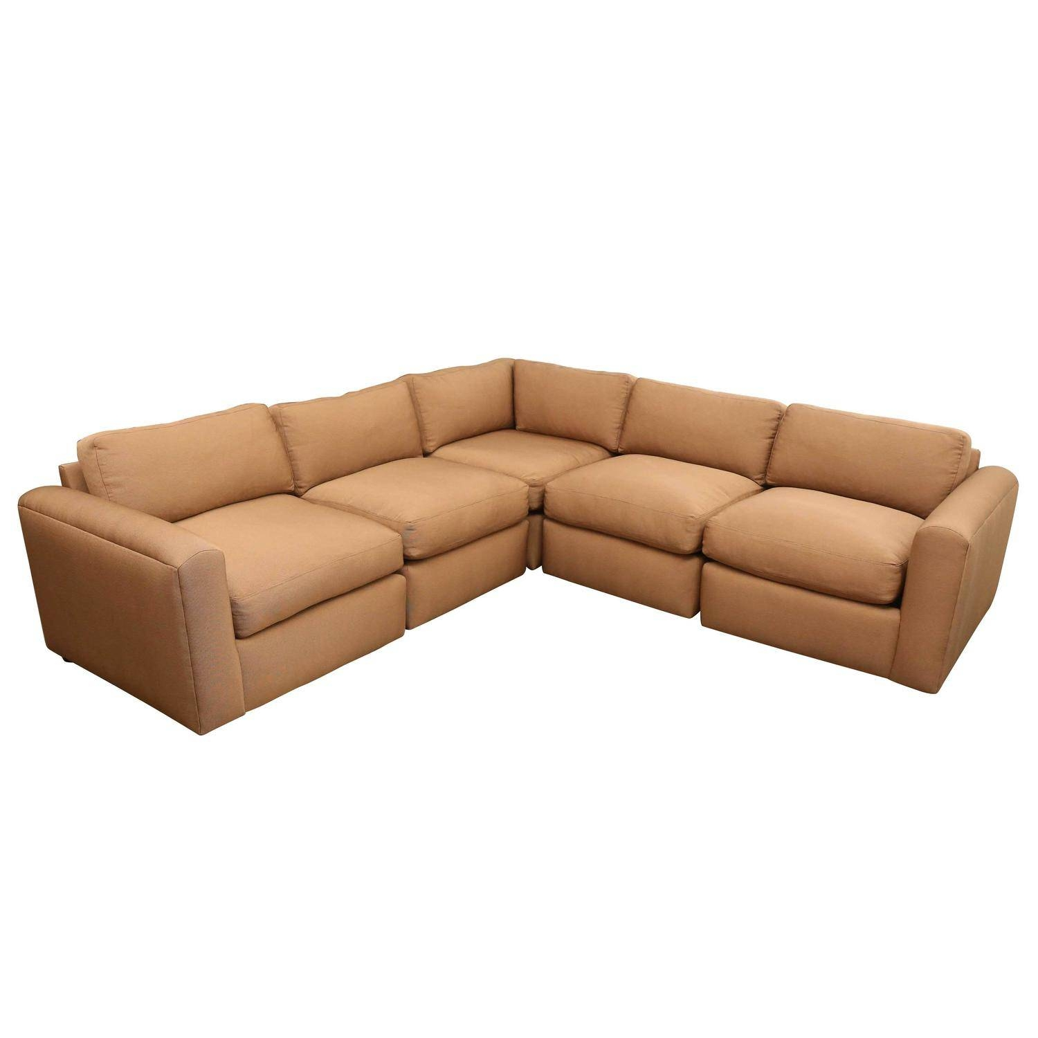 Mid-Century Modern Reupholstered Baughman Style Sectional Sofa in Vintage Leather Sectional Sofas (Image 19 of 30)