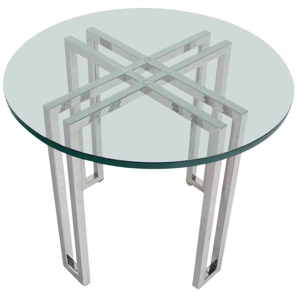 Mid-Century Modern Round Chrome Base And Glass-Top Side Table For inside Round Chrome Coffee Tables (Image 19 of 30)