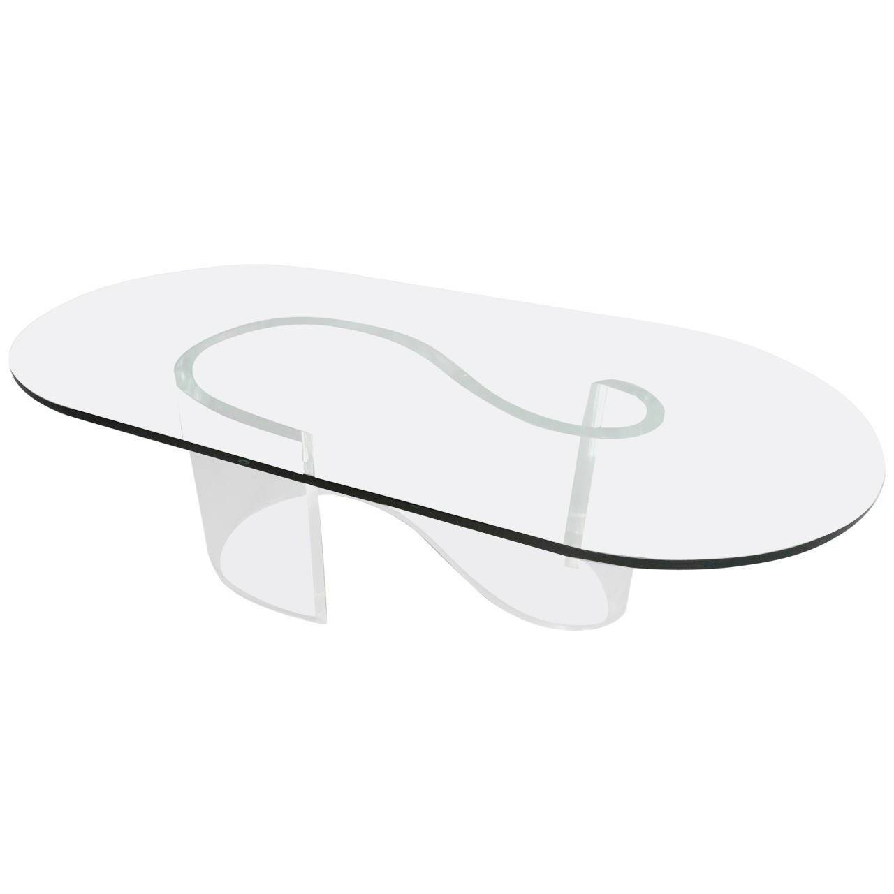 Mid Century Modern S Shape Lucite Coffee Table With Beveled Glass Intended For Coffee Tables With Oval Shape (View 18 of 30)