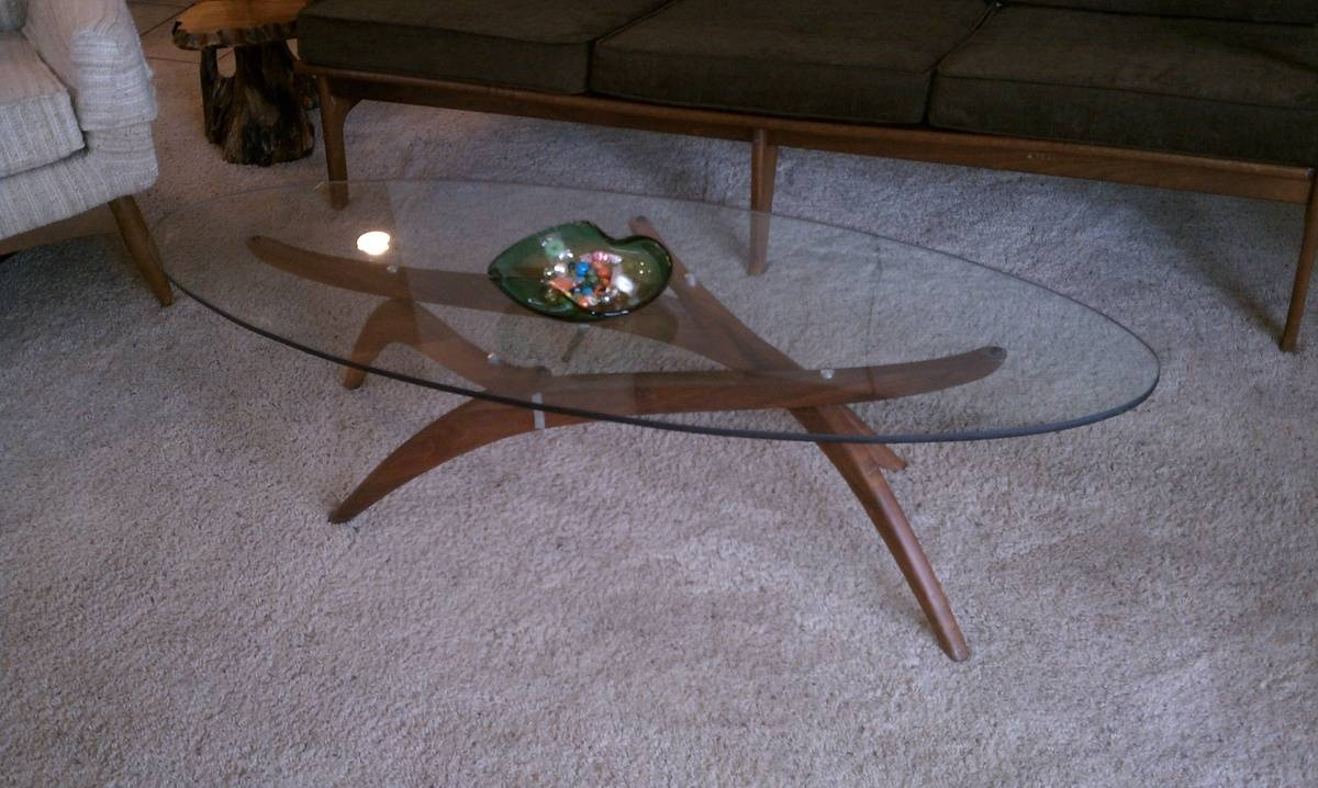 Mid Century Modern Teak Base Coffee Table With Adjustable Legs And Within Retro Teak Glass Coffee Tables (View 20 of 30)