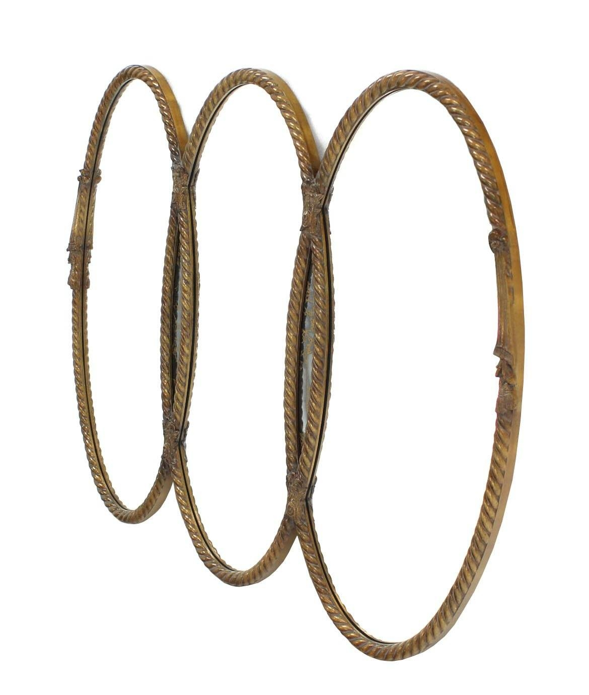 Mid-Century Modern Triple Oval Gold Mirror With Rope Edge Frame intended for Triple Oval Mirrors (Image 14 of 25)