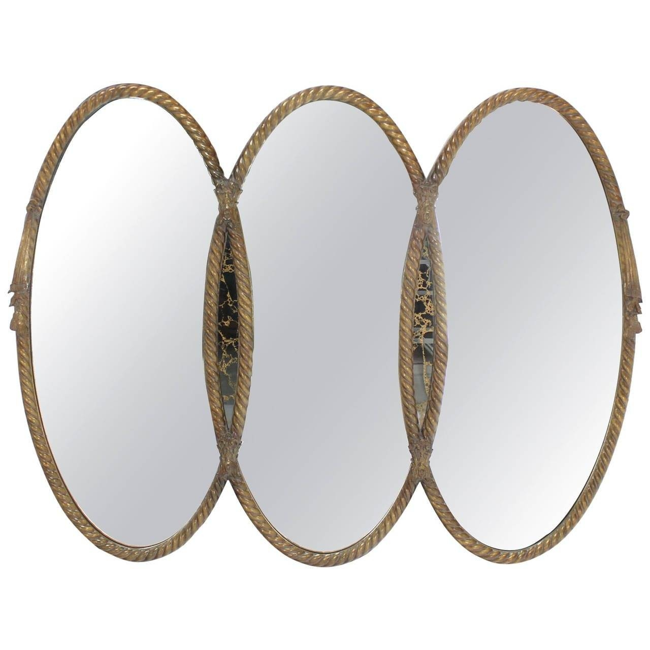 Mid-Century Modern Triple Oval Gold Mirror With Rope Edge Frame with Triple Oval Wall Mirrors (Image 15 of 25)