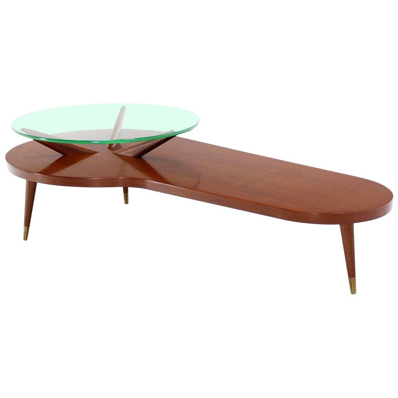 Mid Century Modern Walnut Organic Kidney Shape Coffee Table Round pertaining to Oval Shaped Coffee Tables (Image 15 of 30)