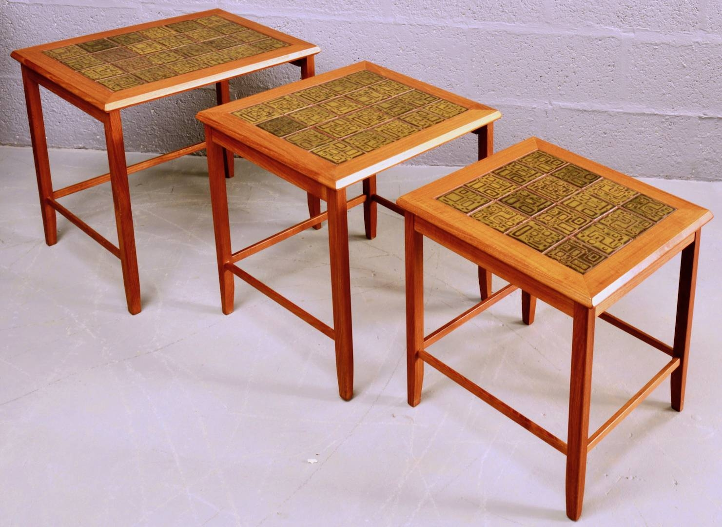 Mid-Century Nest Of Teak And Ceramic Tile Coffee Tables For Sale with regard to Nest Coffee Tables (Image 18 of 30)