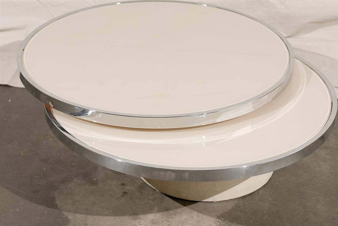 Mid-Century Round Rotating Glass Coffee Table In The Style Of regarding Revolving Glass Coffee Tables (Image 15 of 30)
