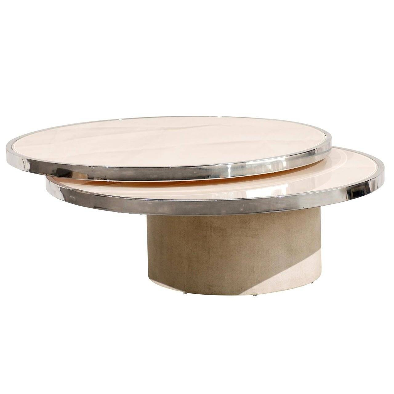 Mid-Century Round Rotating Glass Coffee Table In The Style Of throughout Revolving Glass Coffee Tables (Image 16 of 30)